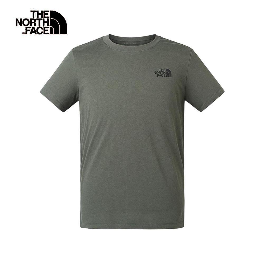 The North Face北面男款軍綠色吸濕排汗迷彩印花短袖T恤|46IPZCE