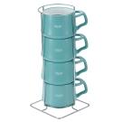 DANSK 陶瓷迷你馬克杯120ml(4件組)(藍綠色)