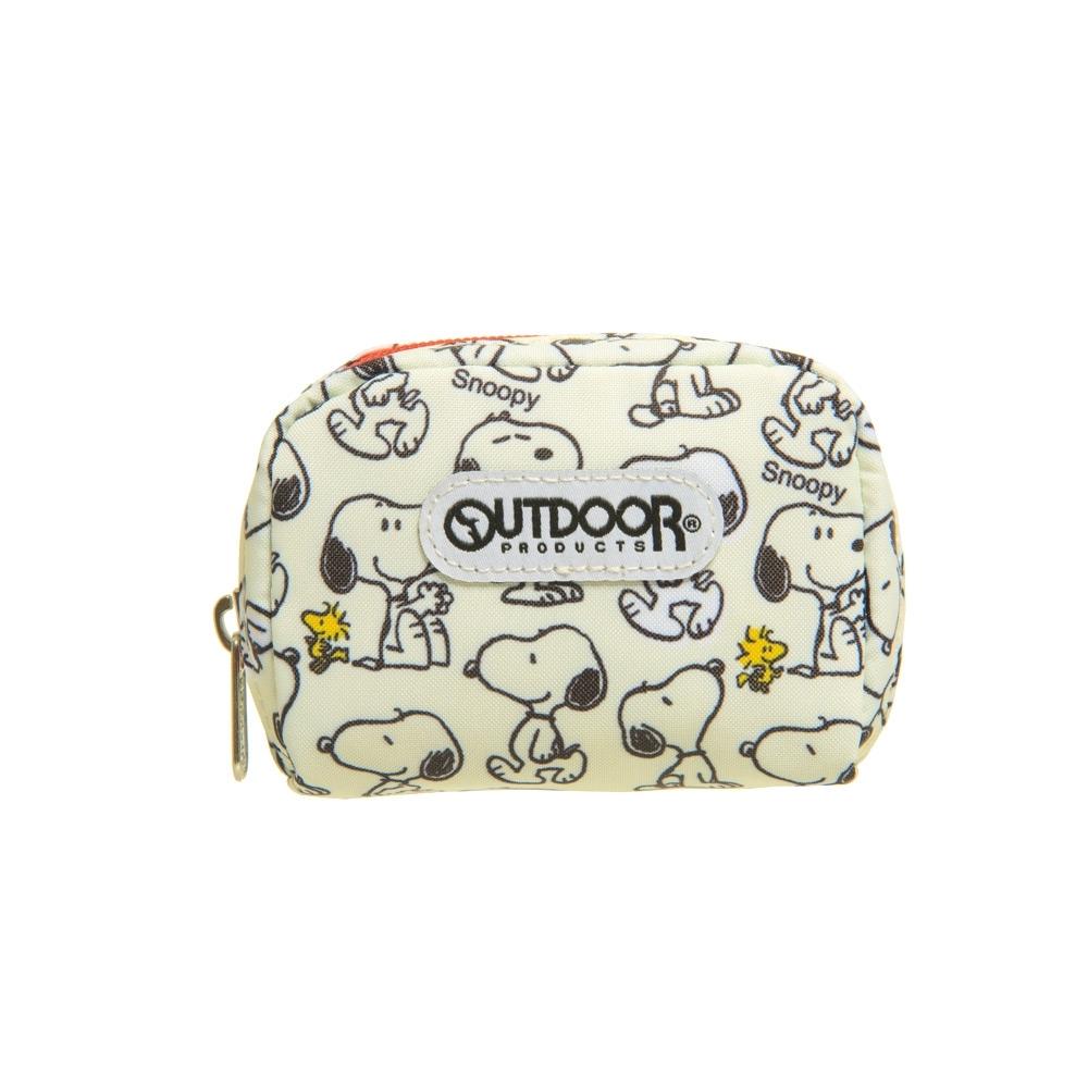 【OUTDOOR】SNOOPY聯名款滿版史努比單層零錢包-淺黃 ODP19B08BG