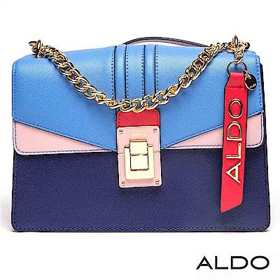 ALDO 幾何撞色拼接掀釦式局部金屬鏈帶包~矢車菊藍