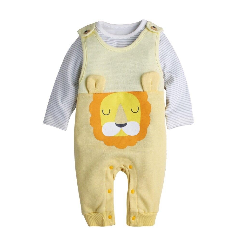 Baby童衣 簡約條紋上衣+內刷毛小熊造型吊帶褲 2件套 50819