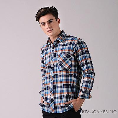 ROBERTA諾貝達 經典格紋 純棉休閒長袖刷毛襯衫RFC56-35藍色