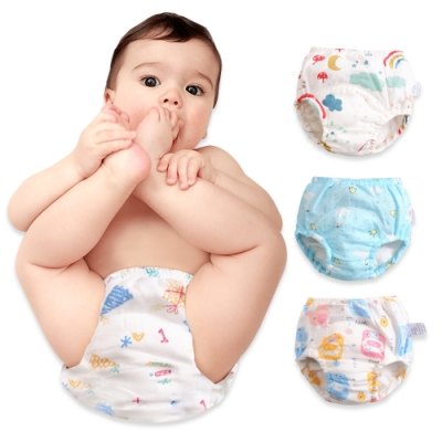 JoyNa【6件入】新款學習褲棉紗嬰兒尿布褲 吸水隔尿褲