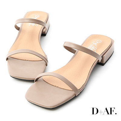 D+AF 簡約印象.一字雙帶方頭涼拖鞋*灰