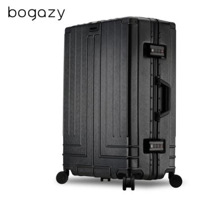 Bogazy 王爵天下 25吋拉絲紋鋁框行李箱(經典黑)