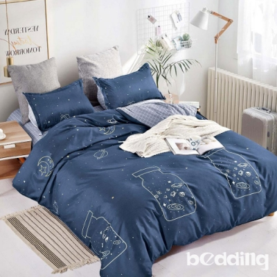 BEDDING-活性印染-加大雙人薄式床包枕套+被套四件組-星空許願