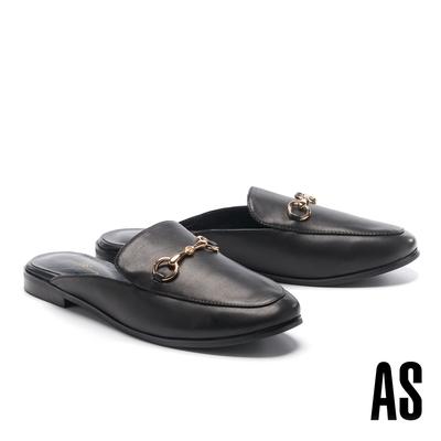 穆勒鞋 AS 復刻經典時尚馬銜釦羊皮低跟穆勒拖鞋-黑