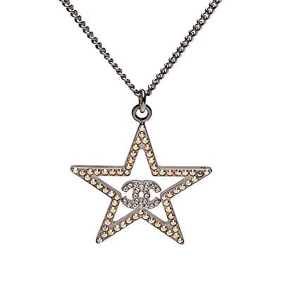 CHANEL 經典雙C LOGO五角星粉彩色水鑽飾邊項鍊(銀)