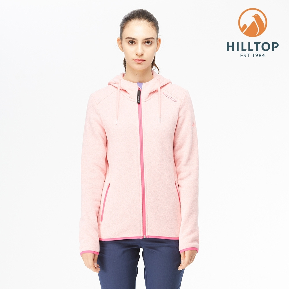 【hilltop山頂鳥】女款POLYGIENE抗菌保暖連帽刷毛外套H22FW4嬰兒粉麻花