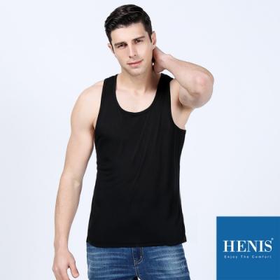 HENIS 自在呼吸 100%純棉 透氣坦克背心 (黑)