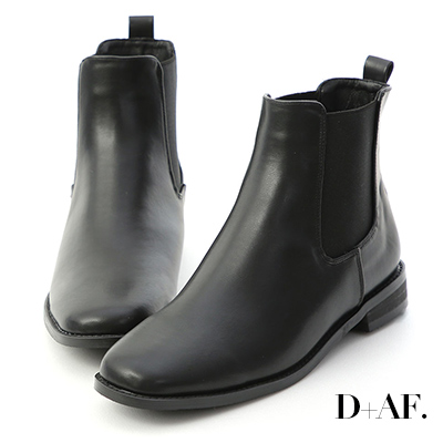 D+AF 經典聚焦.方頭低跟切爾西短靴*黑