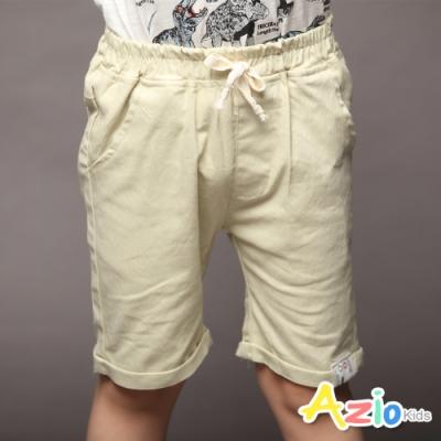Azio Kids 男童 短褲 褲管布標後口袋車線純色休閒短褲(杏)