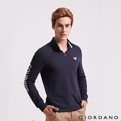 GIORDANO  男裝立體刺繡撞色長袖POLO衫-01 標誌海軍藍