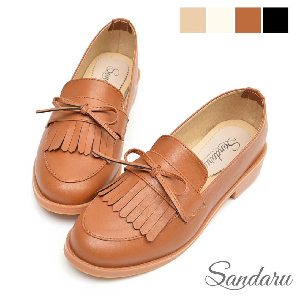 山打努SANDARU-樂福鞋 紳士風格蝴蝶結流蘇軟底低跟鞋-棕