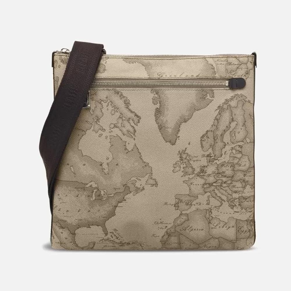 Alviero Martini 義大利地圖包 扁型中側背包-地圖灰