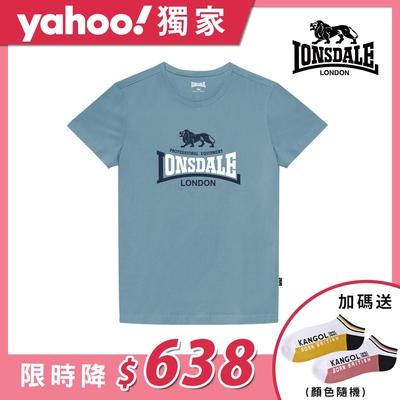 【LONSDALE 英國小獅】經典LOGO短袖T恤-藍色LT001