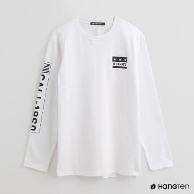 Hang Ten - 男裝 - 個性印花LOGO圓領上衣 - 白
