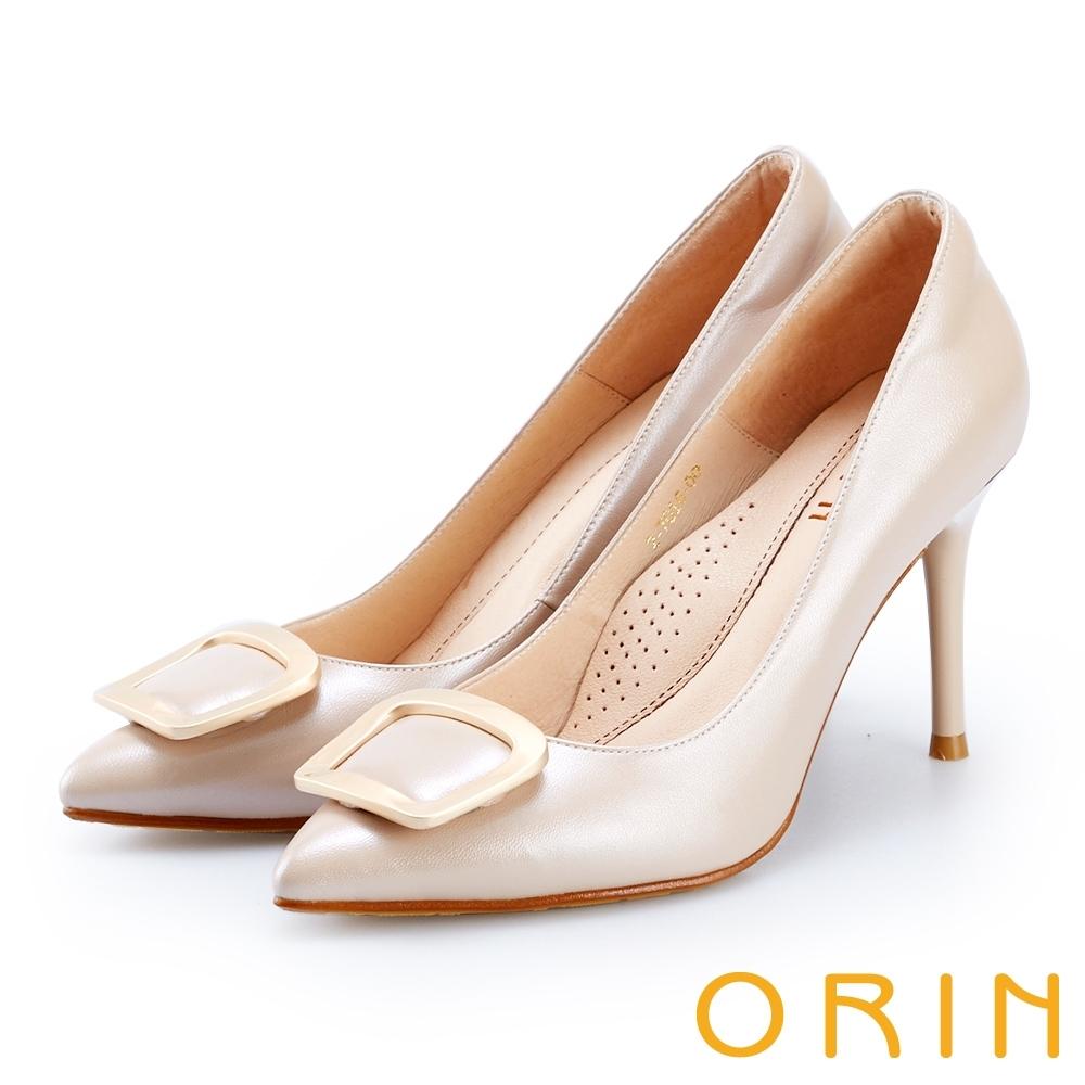 ORIN 時尚名媛 真皮金屬方型釦飾尖頭高跟鞋-粉色