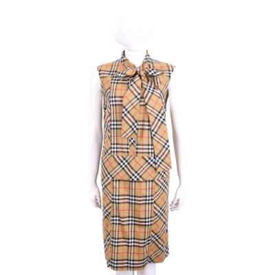 BURBERRY Vintage 格紋棉質襯衫式領結無袖洋裝(古典黃)