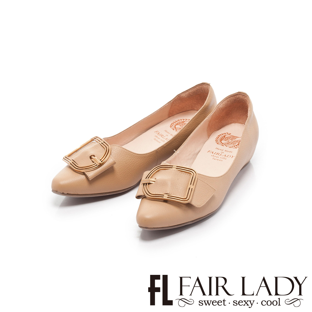 Fair Lady懶骨頭 鏤空金屬框飾尖頭平底鞋 太妃糖