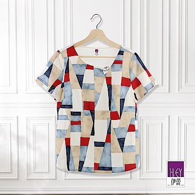 ILEY伊蕾 抽象幾何印花上衣(白)
