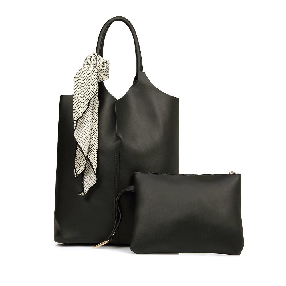 La Moda 時尚模特最愛質感百搭絲巾裝飾多背法肩背手提子母包(黑)