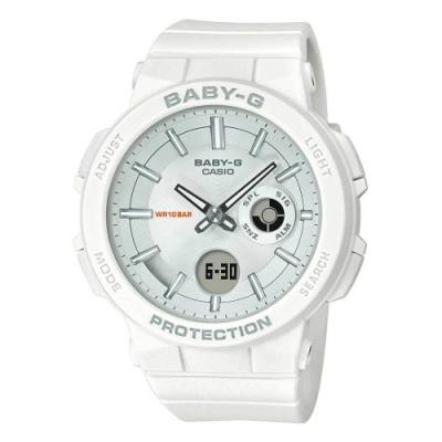 BABY-G-霓虹閃耀愛冒險女孩運動休閒錶-白(BGA-255-7A)/45.1mm