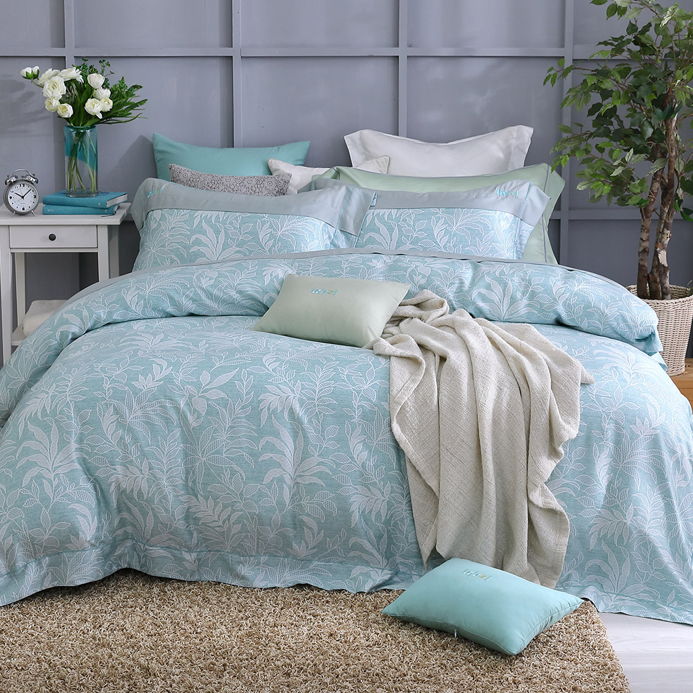 LASOL睡眠屋-100%奧地利天絲 特大兩用被床包四件組300織 半夏絮語