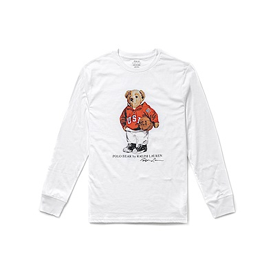 Polo Rlaph Lauren 年度熱銷Polo熊長袖T恤(青年)-白色