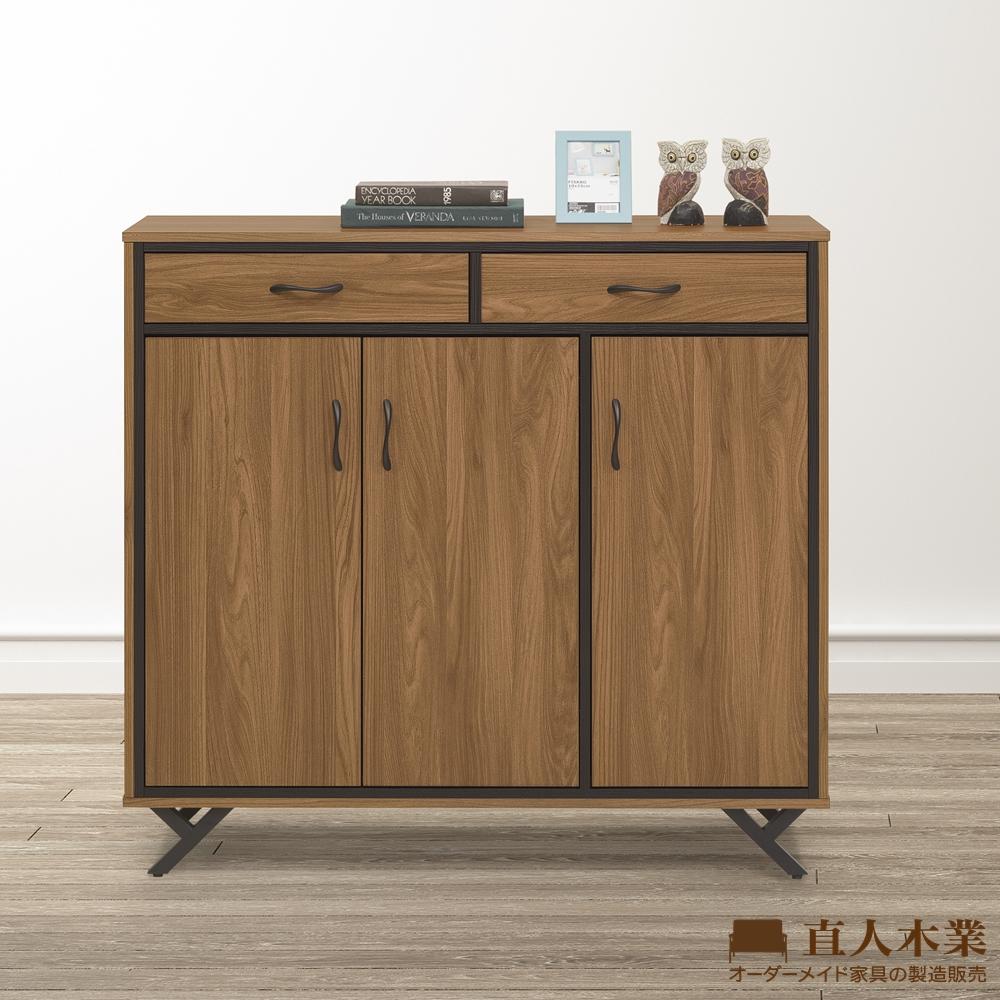 日本直人木業-ROME胡桃木工業風118CM收納鞋櫃(118x40x110cm)