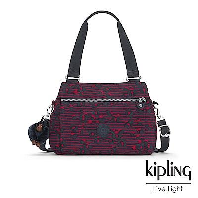 Kipling 高雅紅花條紋梯形手提側背包-ORELIE