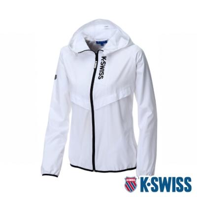 K-SWISS Solid Track Jacket抗UV風衣外套-女-白