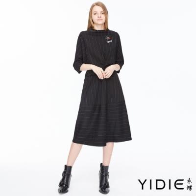 YIDIE衣蝶 立領扭結假兩件式短洋裝-黑