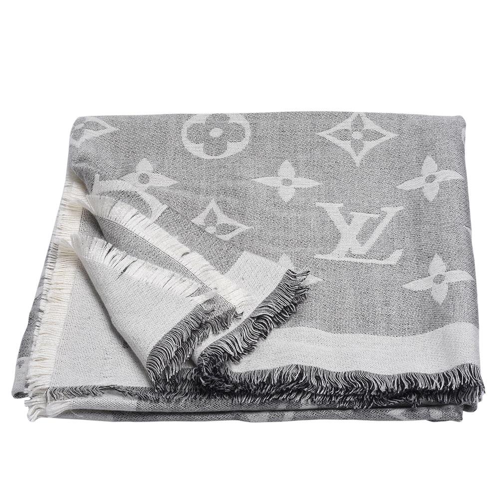 LV MP2412經典Giant 系列雙色Monogram織花羊絨混絲大型披巾/圍巾-米灰 @ Y!購物