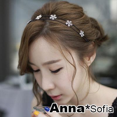 【2件7折】AnnaSofia 雙璇線花雪晶 韓式細髮箍(黑系)