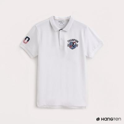 Hang Ten-男裝圖樣刺繡彈性POLO衫-白