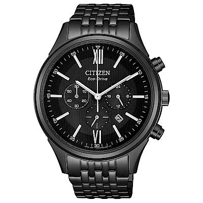 CITIZEN 星辰光動能尊爵三眼計時手錶(CA4415-81E)-黑/42mm