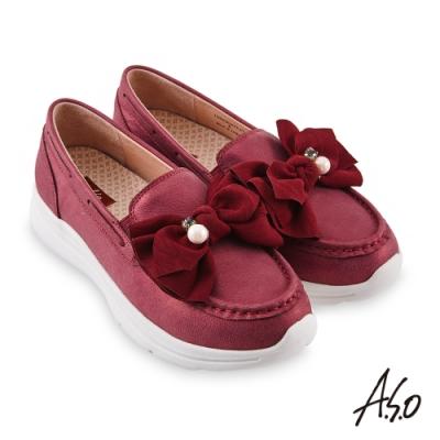 A.S.O 萬步健康鞋蝴蝶結金箔皮料休閒鞋-紫紅