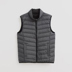 Hang Ten 男裝 雙口袋拉鏈輕羽絨背心 - 灰