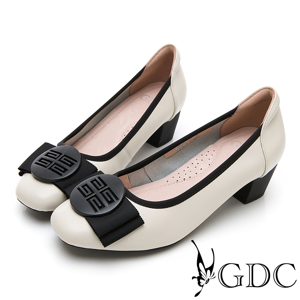 GDC-真皮質感霧面氣質蝴蝶結上班跟鞋-米色