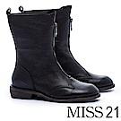 中筒靴 MISS 21 帥氣個性拉鍊造型全真皮低跟中筒靴-黑