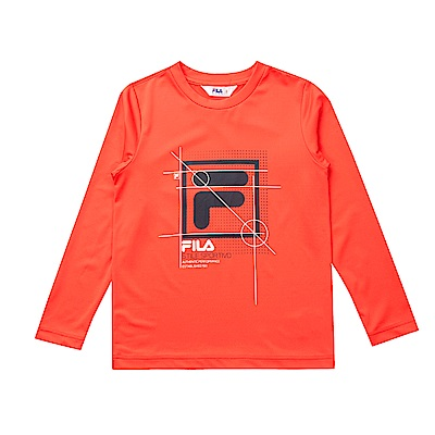 FILA KIDS 童抗UV吸濕排汗上衣-橘 1TES-8316-OR