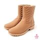 Petite Jolie-V字壓紋短筒靴-牛奶糖 product thumbnail 1