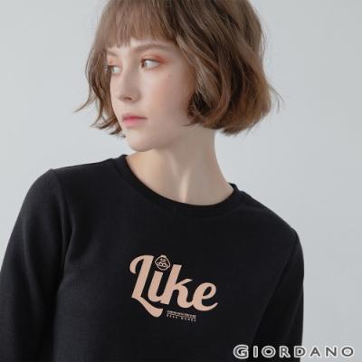 GIORDANO 女裝CHECKS大學T恤 - 12 標誌黑