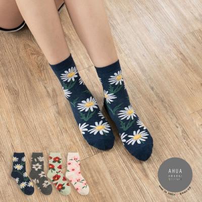 阿華有事嗎  韓國襪子  浪漫花朵中筒襪 韓妞必備長襪 正韓百搭純棉襪