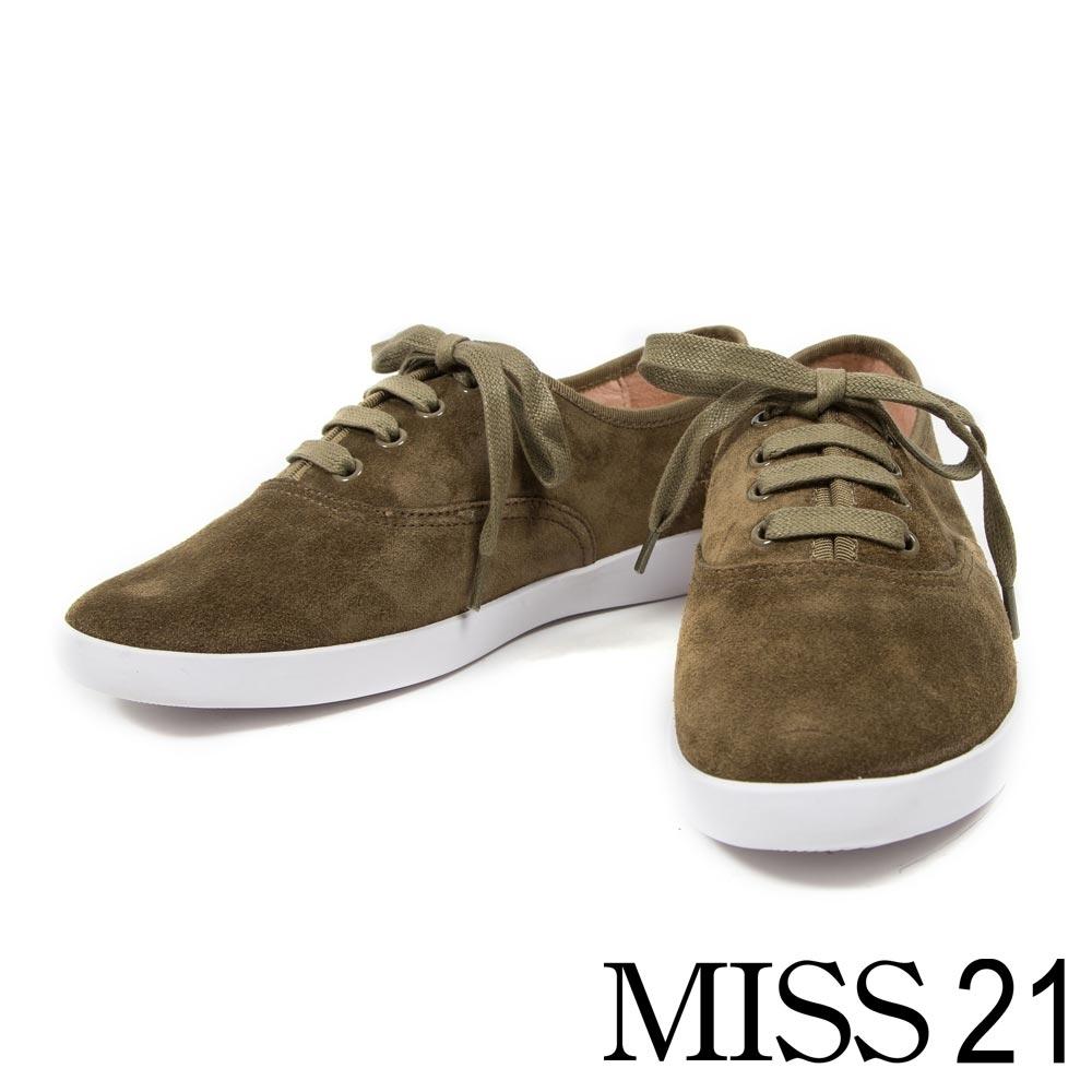 休閒鞋 MISS 21 簡約綁帶造型牛皮休閒鞋-綠