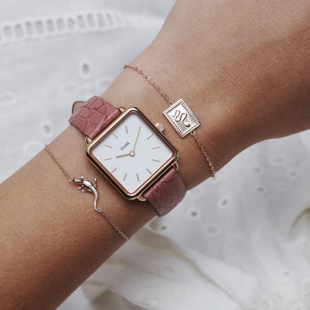 CLUSE La Tetragone 方框腕錶(玫瑰金框/鱷魚紋皮錶帶)28.5mm