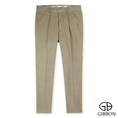 GIBBON 彈性素面棉質修身長褲‧暗卡其