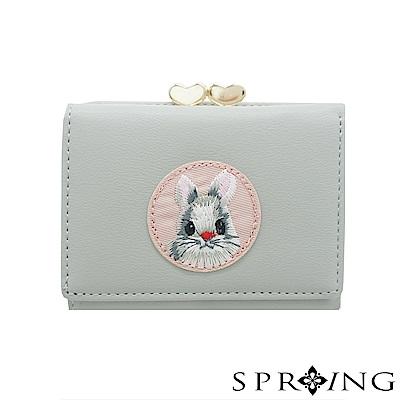 SPRING-甜萌愛心扣刺繡兔兔短夾-氣質灰