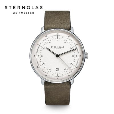 STERNGLAS 德國希丹格斯 S01-HH10-VI12 緞面銀儀表白盤文青石英錶(淺棕錶帶) 42mm 男/女錶